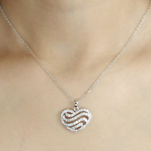 Sterling Silver 2.25 Carat CZ Heart Pendant Necklace Wholesale 2