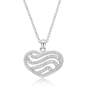 Sterling Silver 2.25 Carat CZ Heart Pendant Necklace Wholesale