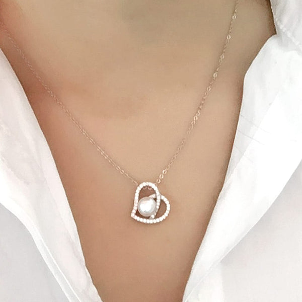 Sterling Silver CZ 8-9 mm Pearl Heart Necklace Wholesale