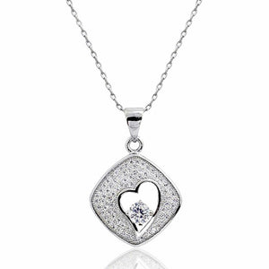 Micro Pave Sterling Silver CZ Heart Necklace Wholesale