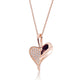Rose Gold Plated 925 Silver CZ Heart Leaf Necklace Wholesale Lots