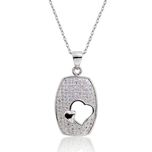Silver Micro Pave CZ Heart Pendant Necklace Wholesale