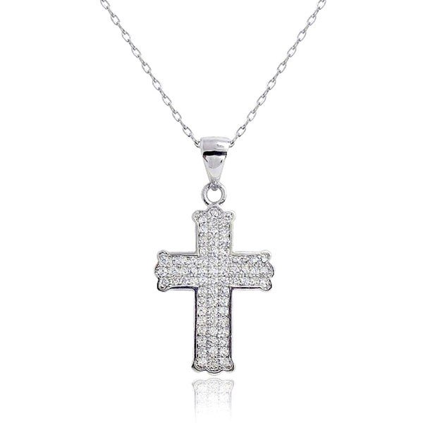 Sterling Silver Micro Pave CZ Cross Necklace Wholesale Lots