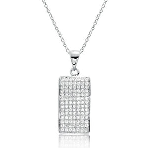 Fancy Sterling Silver Pave Setting CZ Pendant Necklace Wholesale