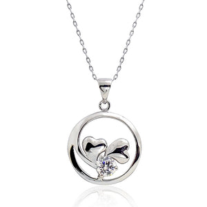 5pcs/Lot 0.80 Ct 925 Sterling Silver Double Heart Pendant Necklace