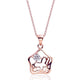 "ZZZZZ123 Rose Gold Plated 925 Sterling Silver CZ Bright Circle Pendant Necklace 16""+ 2"" Extender"