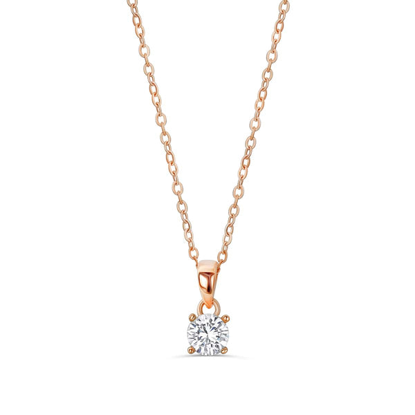 Rose Gold Plated Silver Solitaire CZ Necklace Wholesale Lots 2