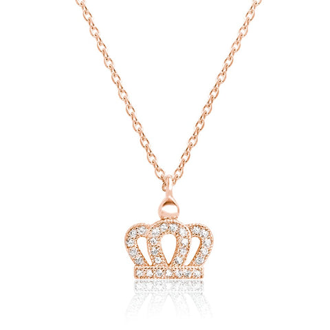 Rose Gold Plated Sterling Silver Crown Necklace Wholesale