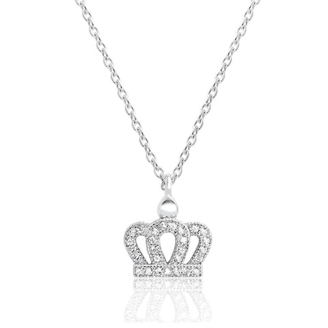 Sterling Silver Cubic Zirconia Crown Necklace Wholesale