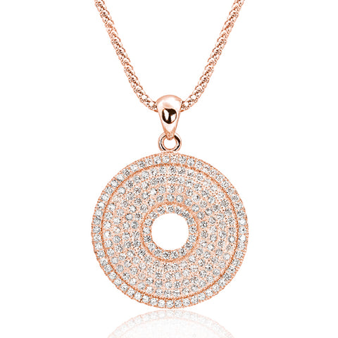Rose Gold over Sterling Silver CZ Perfect Circle Necklace Wholesale