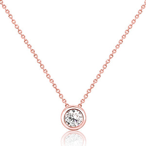 5pcs/Lot Rose Gold Plated Silver Pure Circle CZ Necklace