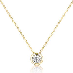 Gold Plated Sterling Silver Pure Circle CZ Necklace Wholesale Lots