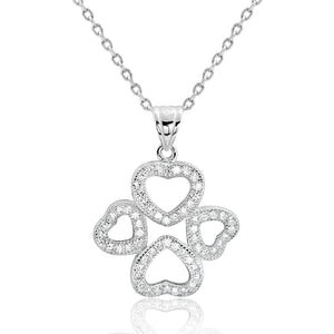 Sterling Silver Wonderful Four Heart Pendant Necklace Wholesale Lots