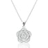 Beautiful Sterling Silver CZ Flower Necklace