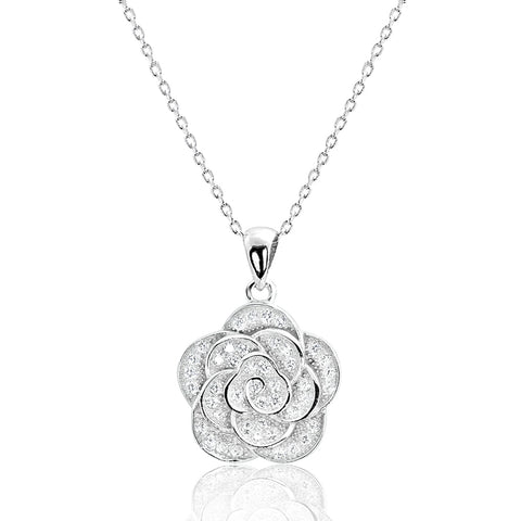 Beautiful Sterling Silver CZ Flower Necklace Wholesale Lot