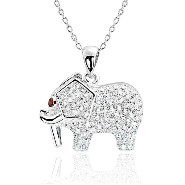 Red Crystal CZ Silver Elephant Necklace Wholesale Lots