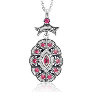 5pcs/Lot CZ Red Crystal Vintage Silver Necklace Wholesale - SilverLots