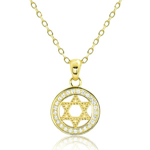Beautiful Gold Plated Silver CZ Star of David Necklace Wholesale Lots