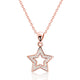 Rose Gold Plated Silver CZ Shining Star Necklace Wholesale