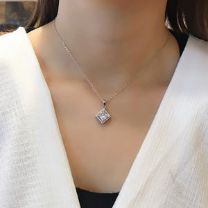 Sterling Silver CZ Princess Cut Pendant Necklace