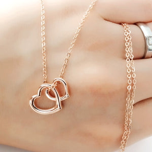 Rose Gold over Silver Double Heart Necklace Wholesale Lots