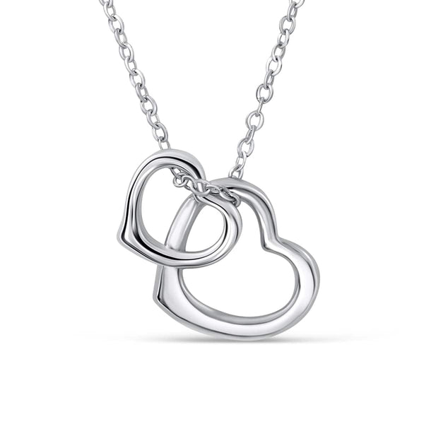 5pcs/Lot Sterling Silver Double Heart Necklace Wholesale