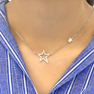 Sterling Silver Cubic Zirconia Star Necklace Chain Jewelry Wholesale 2