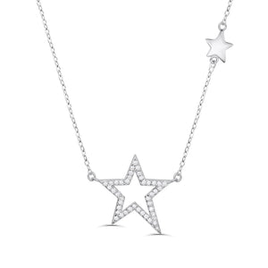 Sterling Silver Cubic Zirconia Star Necklace Chain Jewelry Wholesale