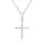 Sterling Silver Clear CZ Small Cross Necklace Wholesale 2