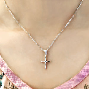 Sterling Silver Clear CZ Small Cross Necklace Wholesale 3