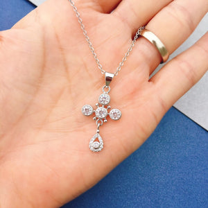 CZ 925 Sterling Silver Fashion Cross Necklace 2