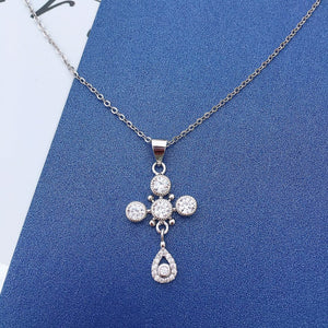 CZ 925 Sterling Silver Fashion Cross Necklace
