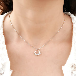 Luxurious Sterling Silver CZ Heart Necklace Wholesale