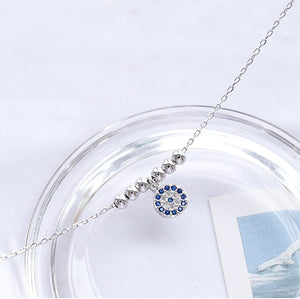 Sterling Silver Blue CZ Evil Eye Hamsa Necklace Wholesale 3