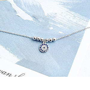 Sterling Silver Blue CZ Evil Eye Hamsa Necklace Wholesale 4
