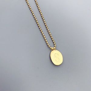 Gold Plated Personalized Filled S Engraved Disc Necklace Wholesale 2