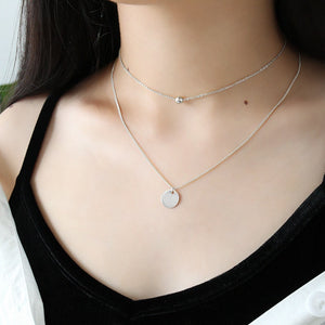 Gold Plated Silver Disc Double Layer Necklace Wholesale 2