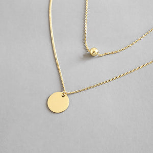 Gold Plated Silver Disc Double Layer Necklace Wholesale 3