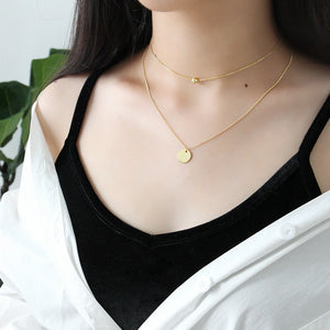Gold Plated Silver Disc Double Layer Necklace Wholesale 4