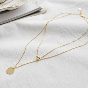 Gold Plated Silver Disc Double Layer Necklace Wholesale 5