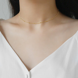 Gold Plated Sterling Silver Choker Chain Necklace 2