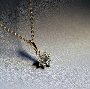 Sterling Silver Cubic Zirconia Flower Pendant Necklace Wholesale