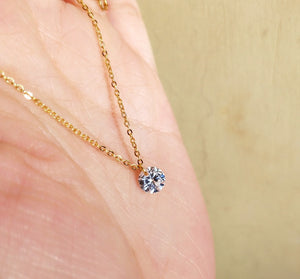 Sterling Silver 6mm Cubic Zirconia Necklace Wholesale