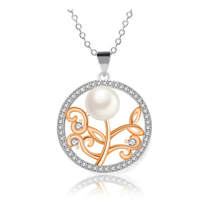 Lovely Rose 925 Sterling Silver Pearl Necklace Wholesale