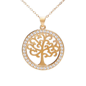 Rose Gold Plated 925 Sterling Silver CZ Tree of Life Necklace Wholesale