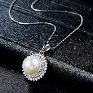 Classic Pearl CZ Sterling Silver Pendant Necklace Wholesale