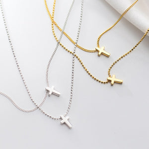 High Polished Double Layer Cross Necklace Wholesale 2