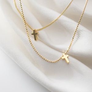 High Polished Double Layer Cross Necklace Wholesale 3