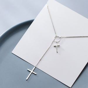 925 Sterling Silver Adjustable Cross Long Necklace Wholesale 2
