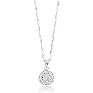 925 Sterling Silver CZ Graceful Circle Necklace Wholesale - SilverLots